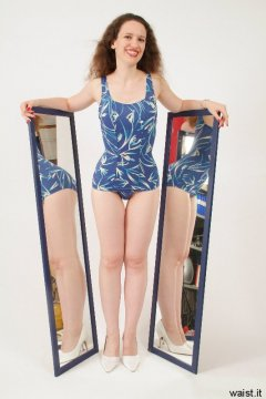 Chiara blue retro swimsuit and mirrors