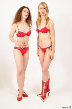 Chiara and Dee in red bikinis