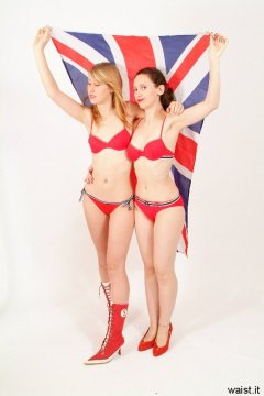 Dee and Chiara in red bikinis