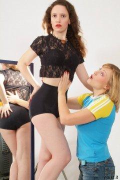 """Tummy in girl!"" Nikki works on Chiara's figure"