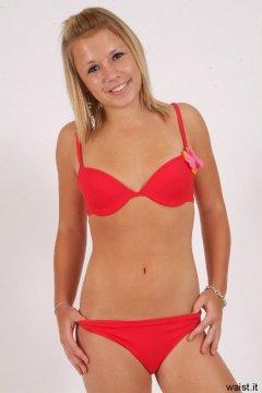 Sara in red bikini