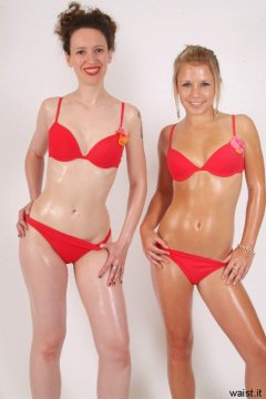Chiara and Sara in red bikinis