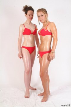 Chiara admires sara's figure after doing tummy lift