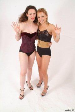Corseted Chiara and Sara wave goodbye