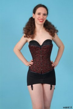 Chiara in tightlaced Vollers corset & black M&S roll-on girdle