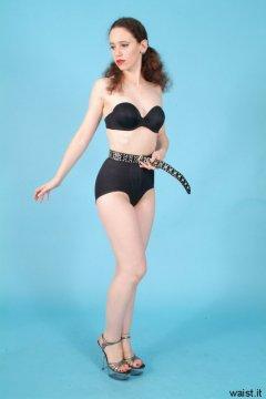 Chiara, black bra, firm control pantie girdle and tight belt