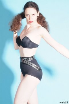 Chiara, black bra, firm control pantie girdle and very tight belt