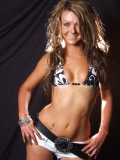 Shelley models bikini top and short-shorts