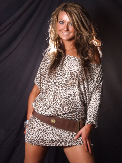 Shelley models animal print dress