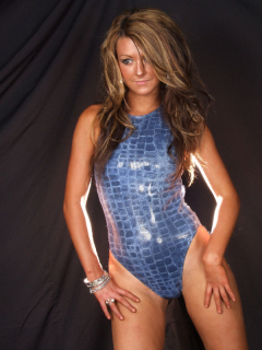 Shelley models blue croc-skin one-piece swimsuit
