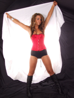 Shelly in red Vollers corset and tight, black Chinese panty-girdle