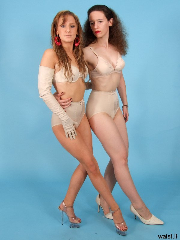 Jade and Chiara pose in Chinese bras and retro girdles