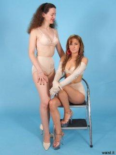 Chiara and Jade model Chinese bras and retro girdles
