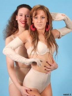 'Tummy in!' Chiara helps Jade achieve that perfect retro shape