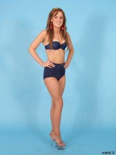 Jade poses in matching royal blue bra and medium-control pantie girdle