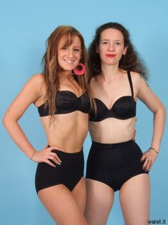 Jade displays her tiny waist - after Chiara made her pull her stomach in!