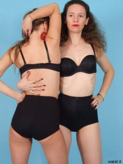 Jade and Chiara show tight pantie girdles from front and rear view