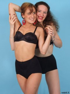 Jade and Chiara pose in black bras and firm-control pantie girdles