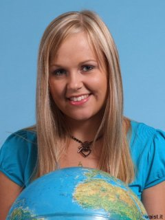 Heather with globe