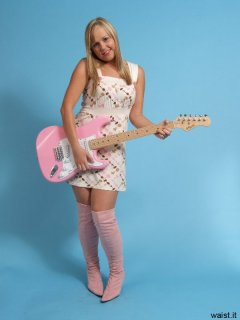 Heather with pink guitar