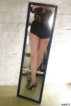 Sarah's legs in the mirror