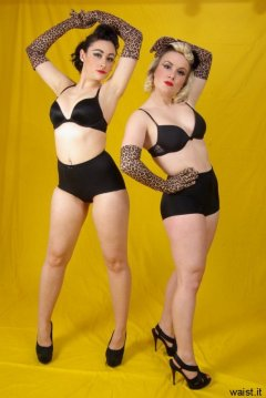 Tanya and Fiona modelling retro-style black bras and pantie girdles