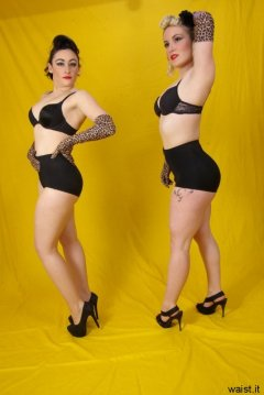 Tanya and Fiona in retro-style black bras and pantie girdles