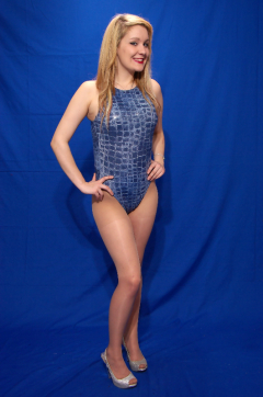 HanaMate in blue croc-skin swimsuit by M&S