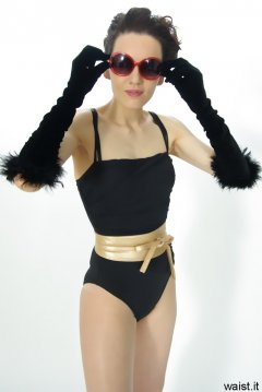 Anise in black vintage-style one-piece swimsuit