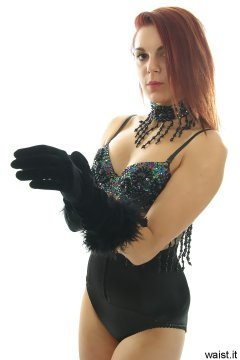 JT McQueen in black dance top and high waist Maidenform waistnipper pantie girdle