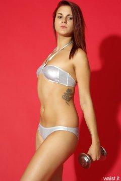 JT McQueen in tiny silver bikini