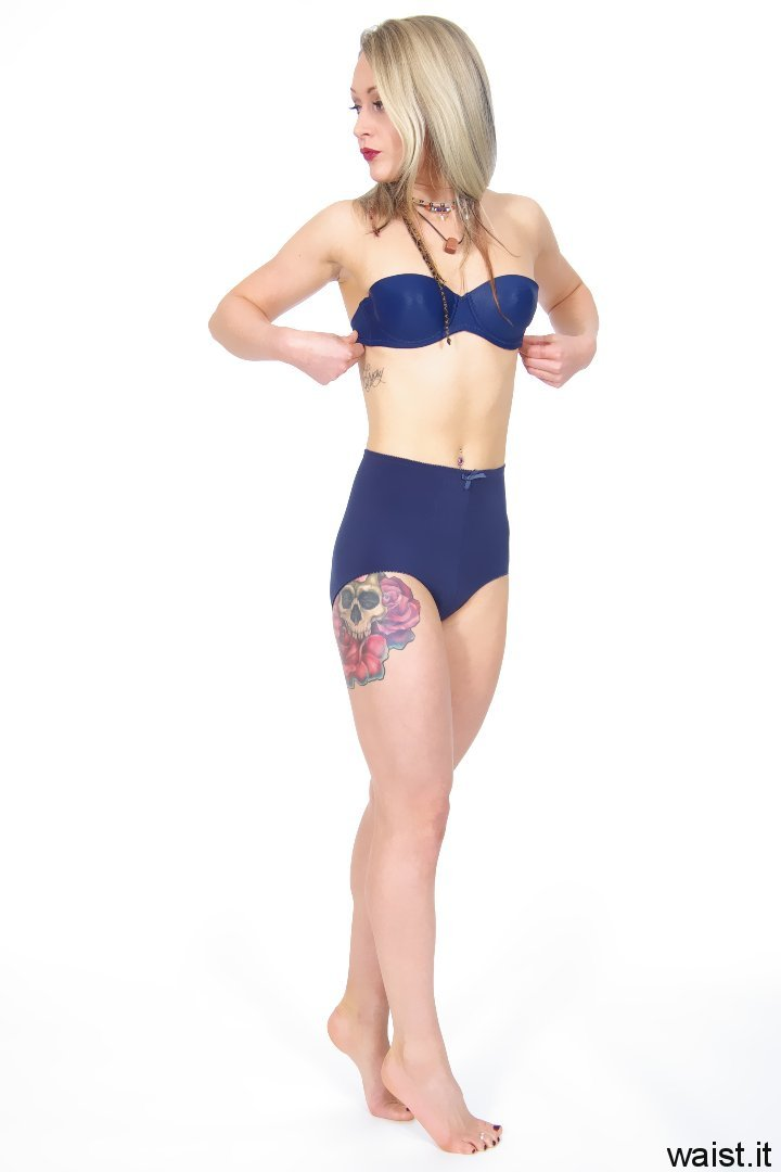 Amie Jade matching blue bra and vintage-style control briefs