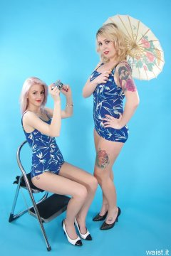 DollyBird and Sammy-Clare 2014-04-13 retro fitness shoot - swimsuit