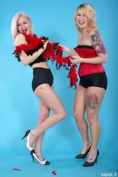 DollyBird and Sammy-Clare 2014-04-13 retro fitness shoot - girdle and corset