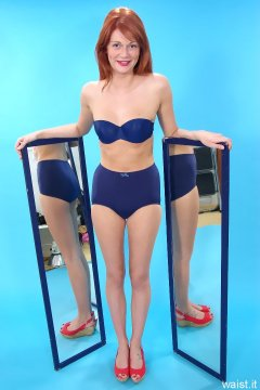 Charlotte - blue Triumph bra and unbranded Chinese pantie girdle