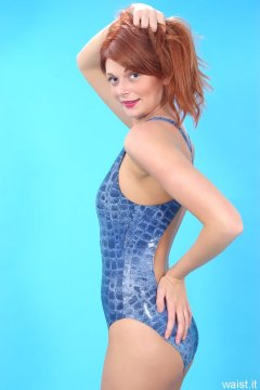 Charlotte - blue crocskin M&S one-piece swimsuit