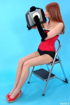 Charlotte - Red vollers corset and black Playtex high-waist girdle