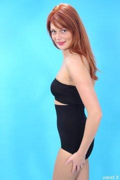 Charlotte - black unbranded boobtube and Playtex high-waist girdle