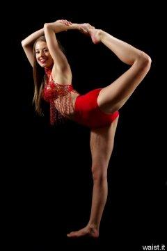 Josie in red dance costume
