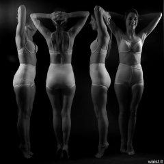 """Josie Lauren in vintage white bra and firm """"Little X"""" pantie girdle, strobe experiment"""