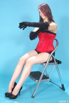 Lauren - red vollers overbust corset and black style 210 girdle