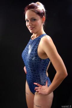 blue croc skin swimsuit by M&S