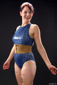 blue croc skin swimsuit by M&Setro fitness shoot
