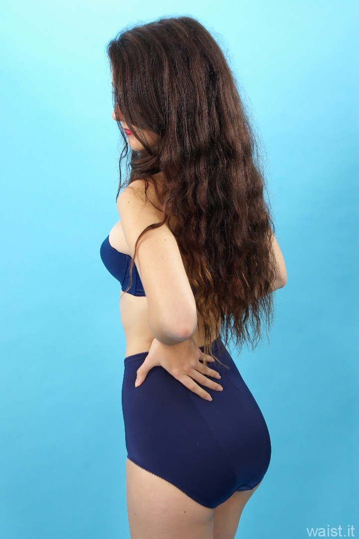 Amy V, blue Triumph bra and Chinese pantie girdle