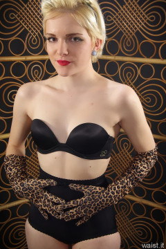Abbie black bra and girdle