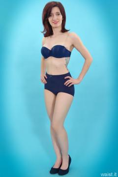 Dawsie blue bra aand control briefs worn as hotpants