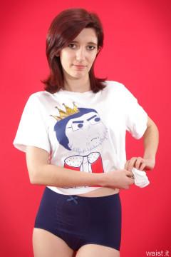 Dawsie T-shirt and blue control briefs worn as hotpants