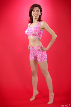 Dawsie pink lycra sports top and hotpants
