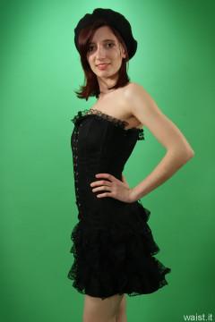 Dawsie black strapless longline bra and firm-control lycra pantie girdle worn as hotpants