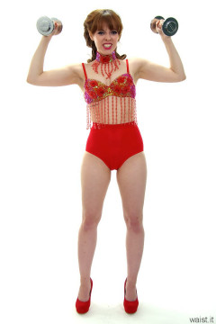 Kirsten-Ria red bra and pocket girdle